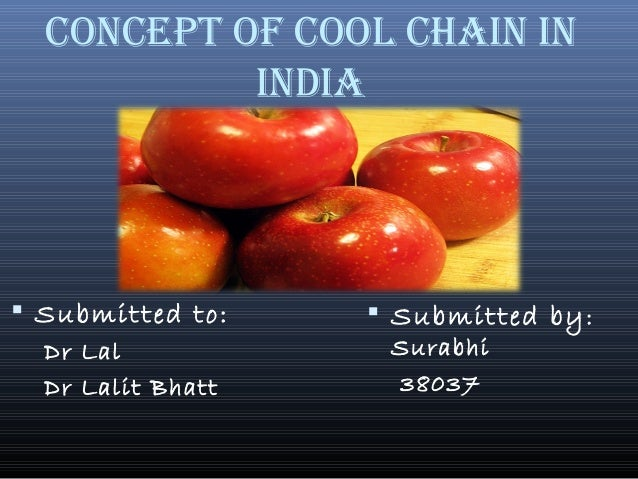 CONCEPT OF COOL CHAIN IN INdIA  Submitted to: Dr Lal Dr Lalit Bhatt  Submitted by: Surabhi 38037