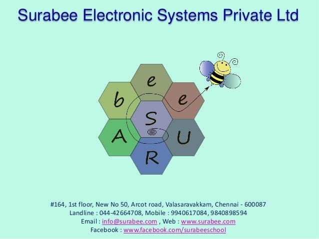Surabee Electronic Systems Private Ltd  #164, 1st floor, New No 50, Arcot road, Valasaravakkam, Chennai - 600087 Landline ...
