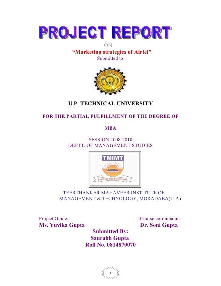 "ON                 ""Marketing strategies of Airtel""                           Submitted to             U.P. TECHNICAL UNIV..."