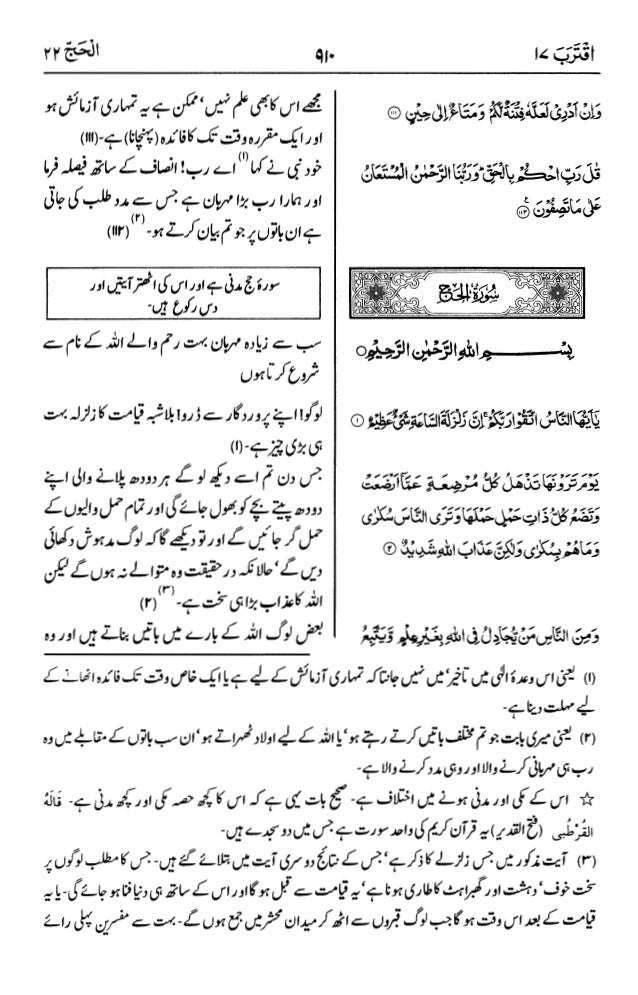 اردو  ترجمہ و تفسير ( الحج ) ٢٢ سورۃ القرآن [PDF]