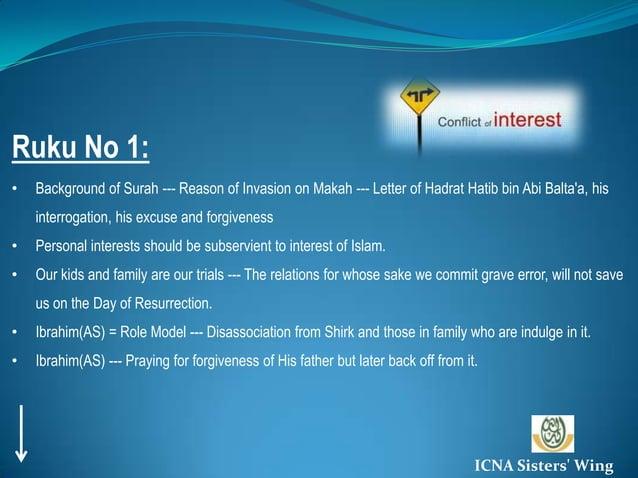 Ruku No 1:<br /><ul><li>Background of Surah --- Reason of Invasion on Makah --- Letter of Hadrat Hatib bin Abi Balta'a, hi...
