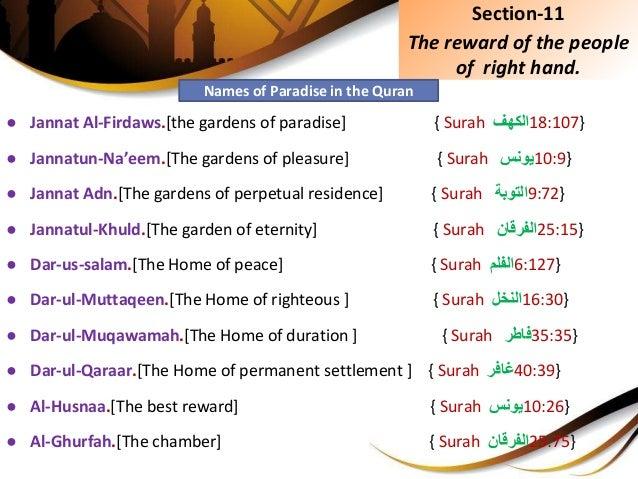 ● Jannat Al-Firdaws.[the gardens of paradise] { Surah }701:81الكهف ● Jannatun-Na'eem.[The gardens of pleasure] { Surah ...