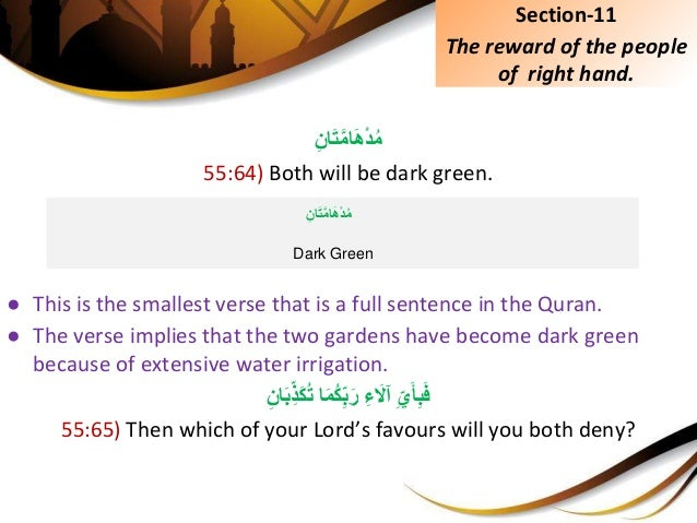 ِِّانَتَّماَهْدُم 55:64) Both will be dark green. ● This is the smallest verse that is a full sentence in th...