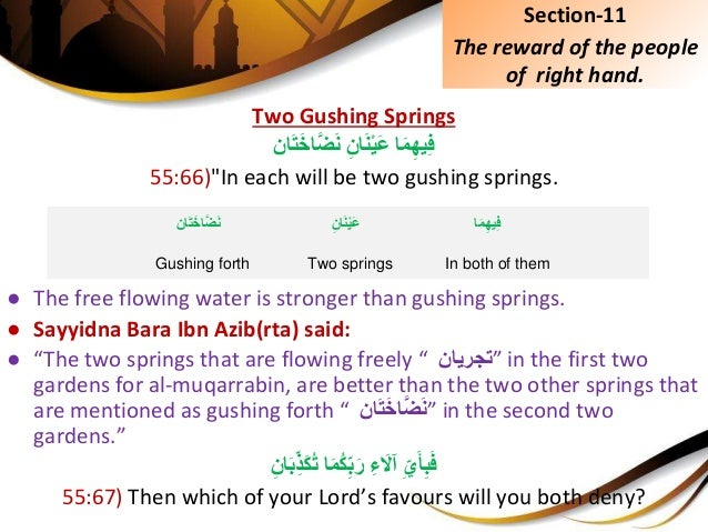 """Two Gushing Springs اَمِيهِفِِّانَنْيَعانَتَخاَّضَن 55:66)""""In each will be two gushing springs..."""