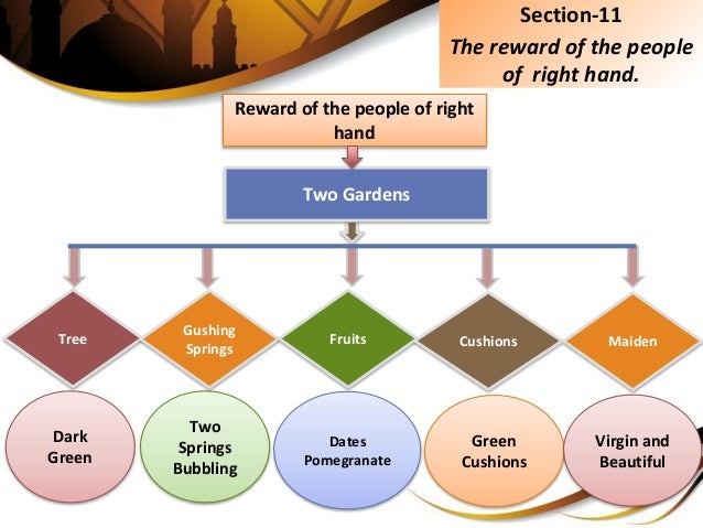 Section-11 The reward of the people of right hand. Reward of the people of right hand Two Gardens Dates Pomegranate Two Sp...