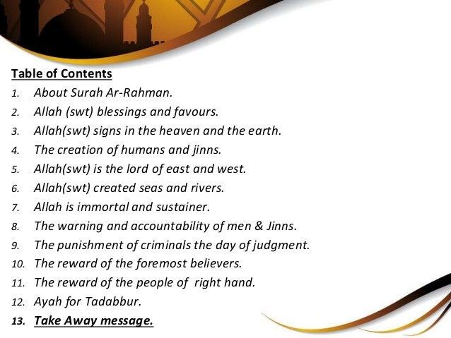 Surah Ar Rahman - A Detailed Analysis