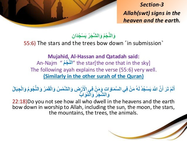 ُِّمْجَّنالَوُِّرَجَّشالَوَِِّاندُجْسَي 55:6) The stars and the trees bow down ˹in submissio...