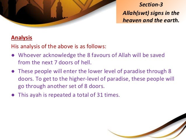Analysis His analysis of the above is as follows: ● Whoever acknowledge the 8 favours of Allah will be saved from the next...