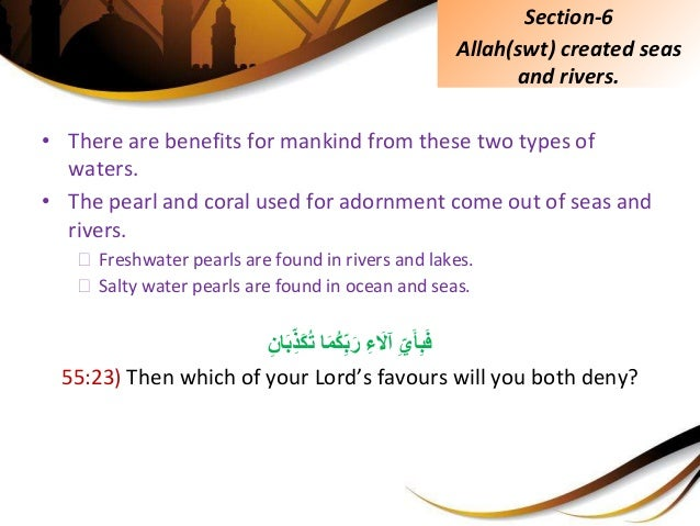 • There are benefits for mankind from these two types of waters. • The pearl and coral used for adornment come out of seas...