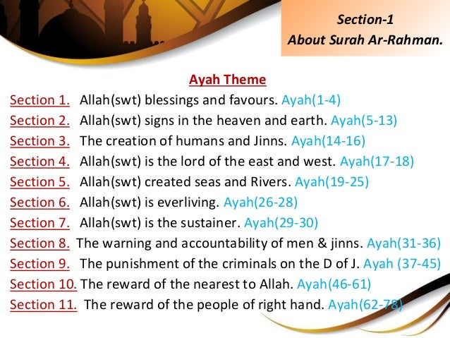 Ayah Theme Section 1. Allah(swt) blessings and favours. Ayah(1-4) Section 2. Allah(swt) signs in the heaven and earth. Aya...