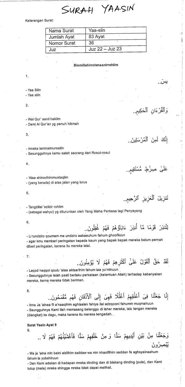 Surah Yaasin Dalam Arab Dan Rumi Serta Terjemahannya