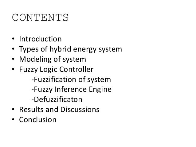 Fuzzy Logic Control of Hybrid Energy System Slide 2