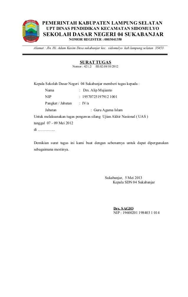 Contoh Surat perintah melaksankan tugas pengawas silang ...