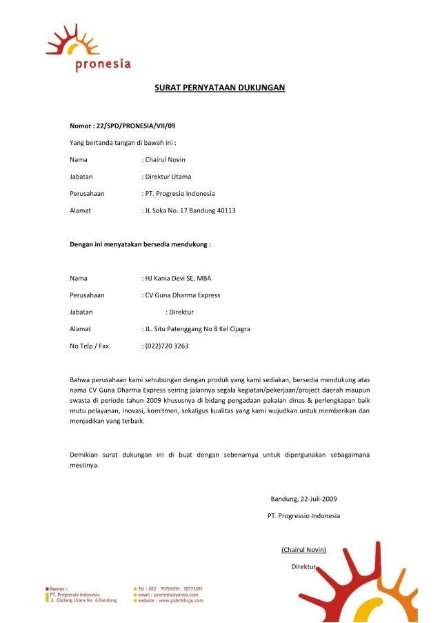 Surat dukungan-pabrikan