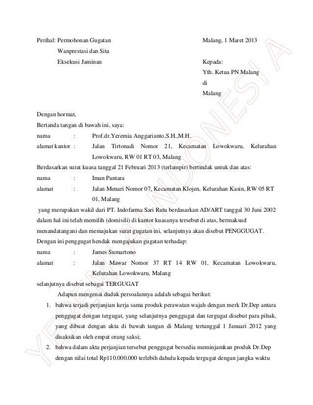 Contoh Surat Gugatan Perbuatan Melawan Hukum Pdf