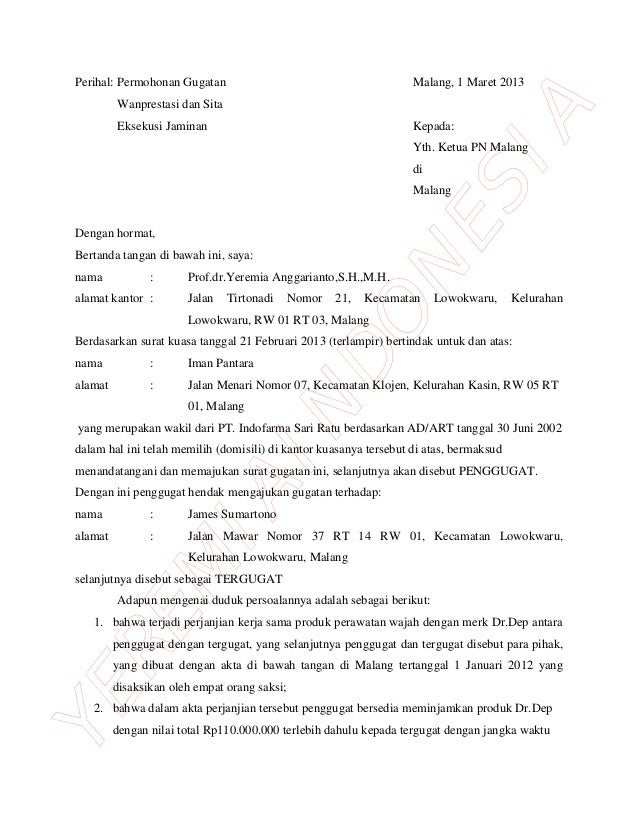 contoh surat gugatan perlawanan eksekusi surat 35