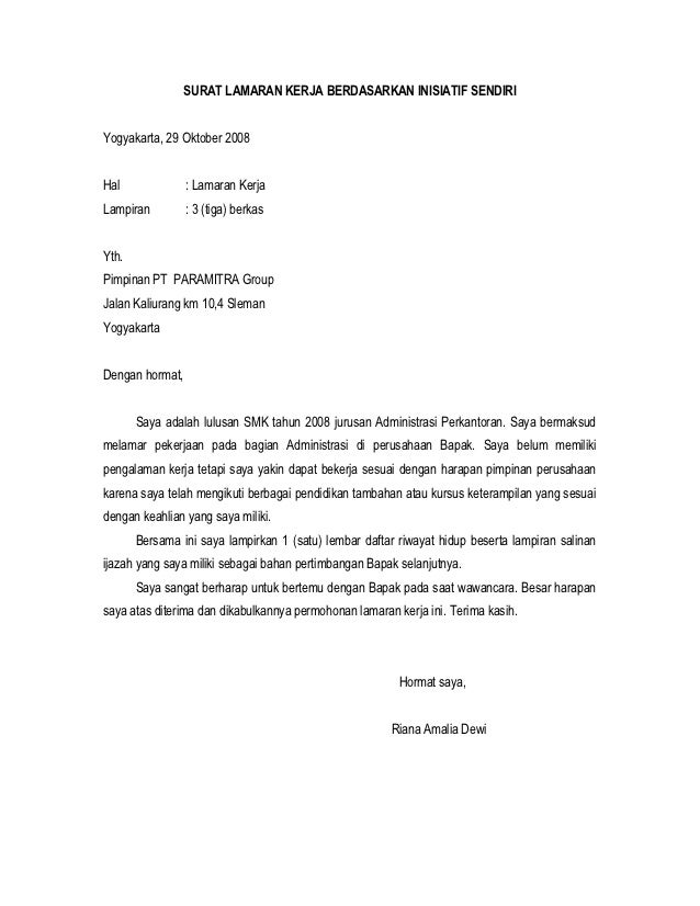 Contoh Surat Lamaran Pekerjaan Pt Astra