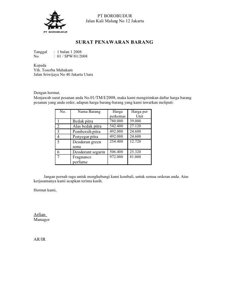Surat Penawaran Dr Borobudur
