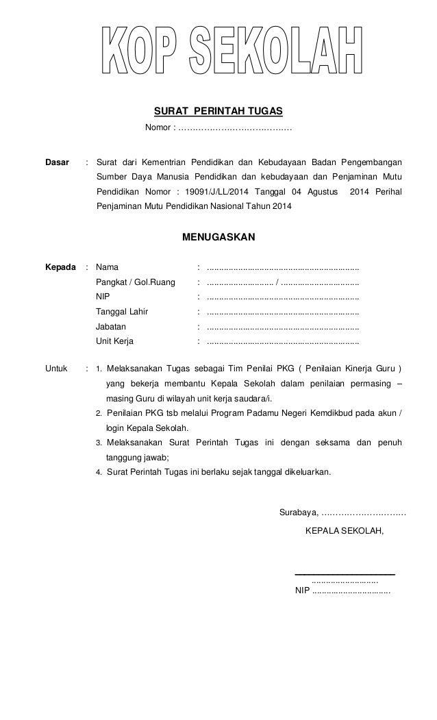 Surat Perintah Tugas Tim Penilai Pkg