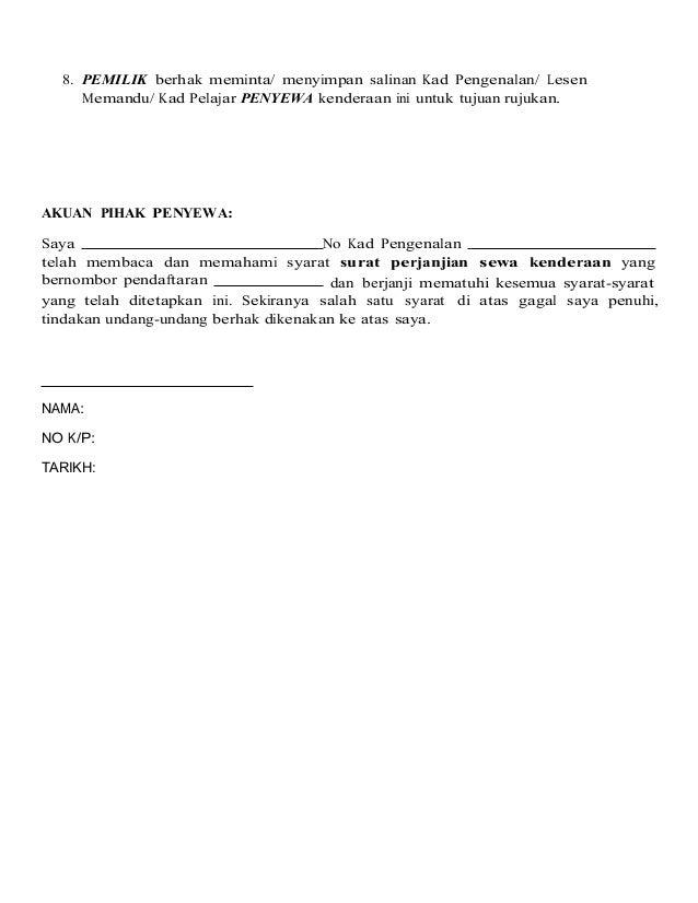 Surat-perjanjian-sewa kenderaan