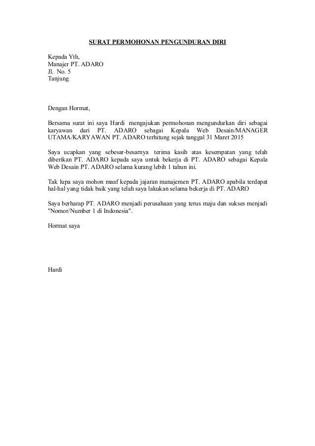 Surat permohonan-pengunduran-diri fot perusahaan,perawat ...