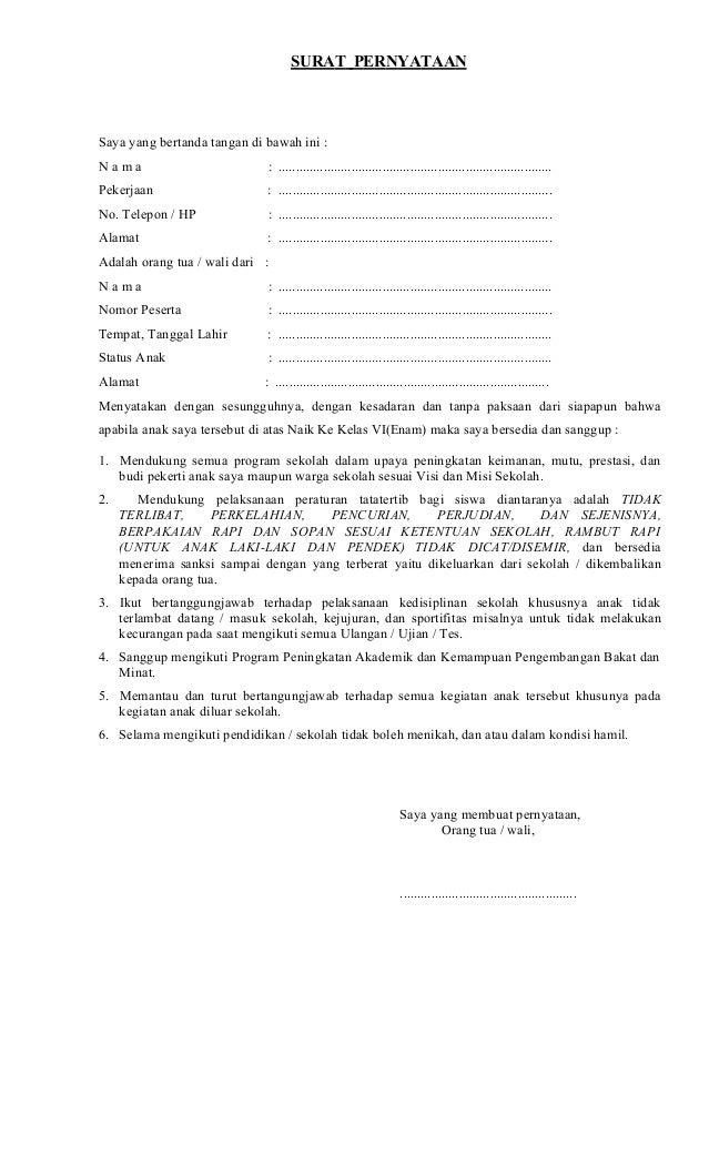 Surat Pernyataan Siswa