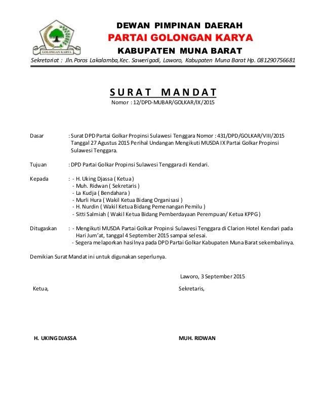 Contoh Surat Mandat Penghubung Partai Backup Gambar