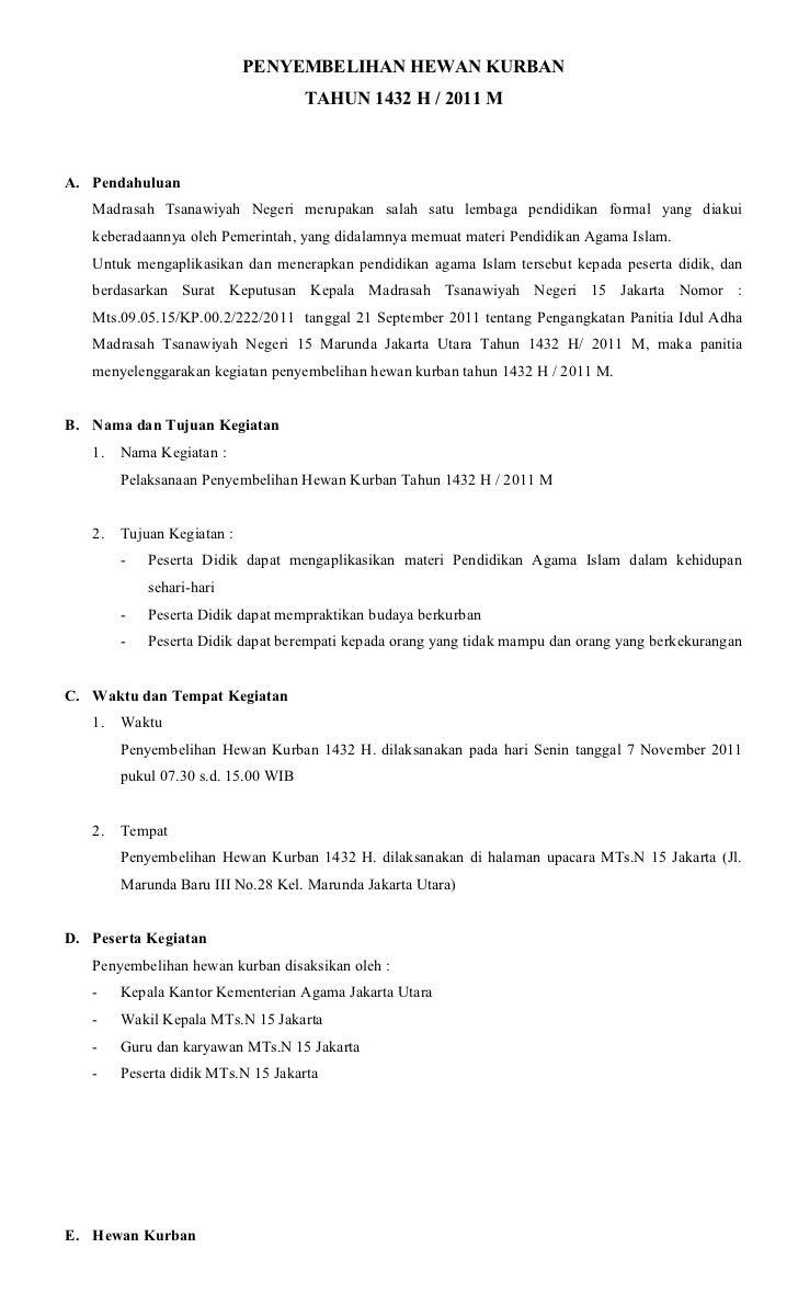 Contoh Proposal Qurban Sekolah Ilmusosial Id