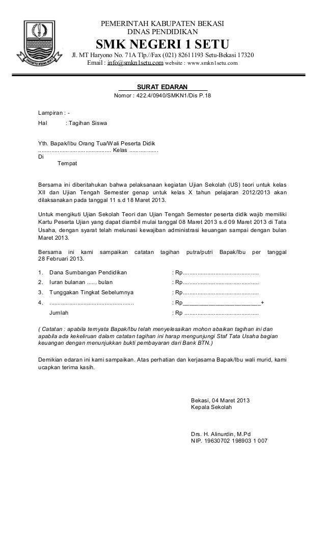 Contoh Surat Edaran Tagihan