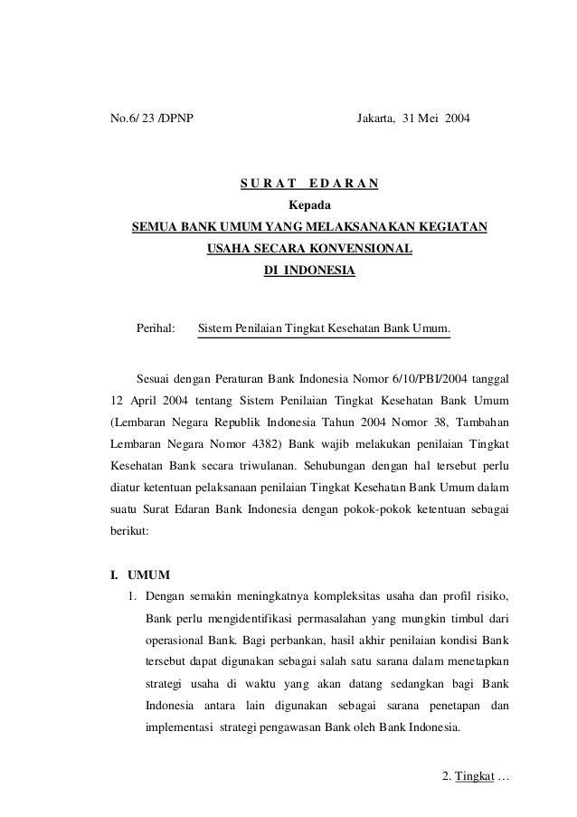 Surat Edaran Bi Tentang Penilaian Tkb Dengan Camel 2004