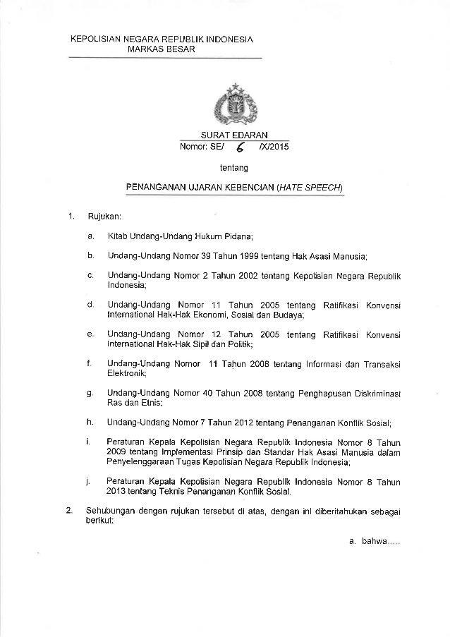 KEPOLISIAN NEGARA REPUBLIK INDONESIA  MARKAS BESAR     SURAT EDARAN Nomor:  SE/  g / >(/2015 tentang  PENANGANAN UJARAN KE...