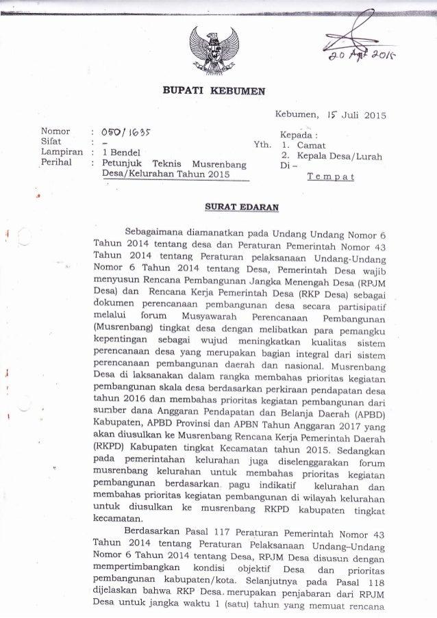Surat Edaran Musrenbangdes 2015