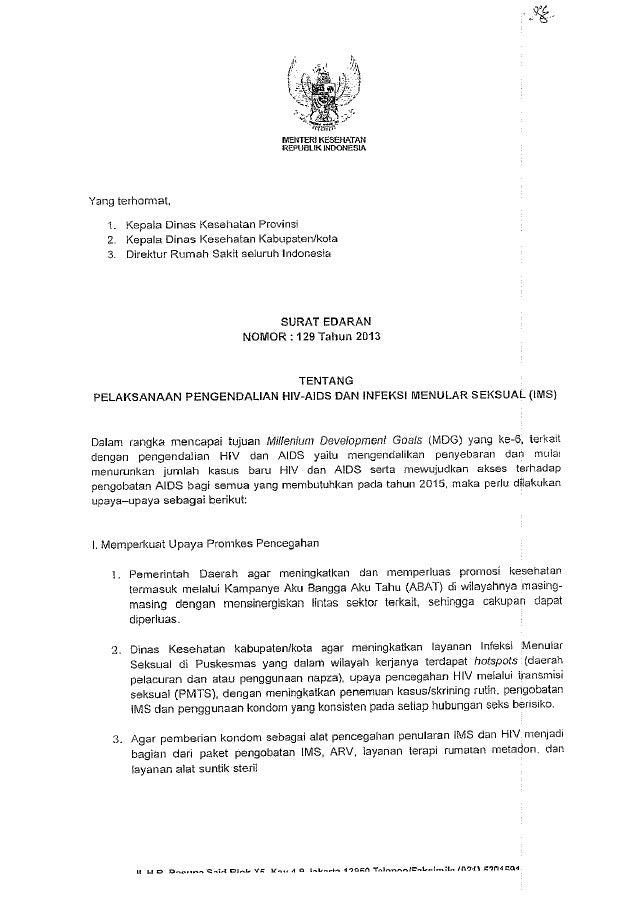 Surat edaran No129 th 2103 ttg pelaksanaan pengendalian hiv aids