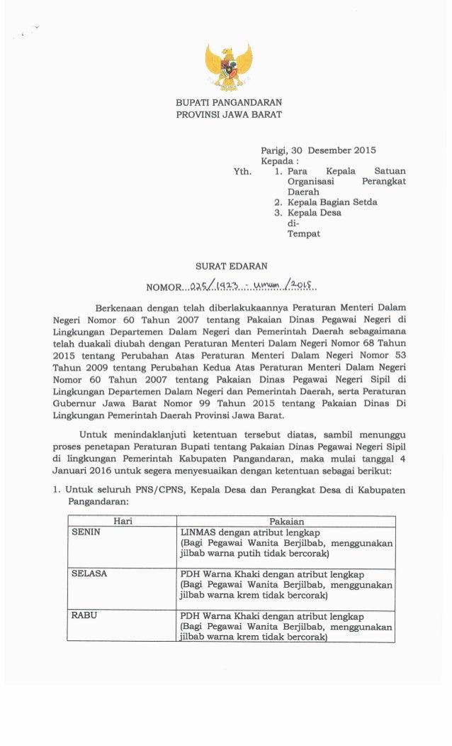 319%#  BUPATI PANGANDARAN PROVINSI JAWA BARAT  Parigi,  30 Desember 2015  Kepada :  Yth.  1. Para Kepala Satuan Organisasi...