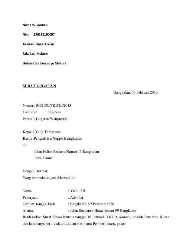 contoh surat kuasa gugatan contoh sr