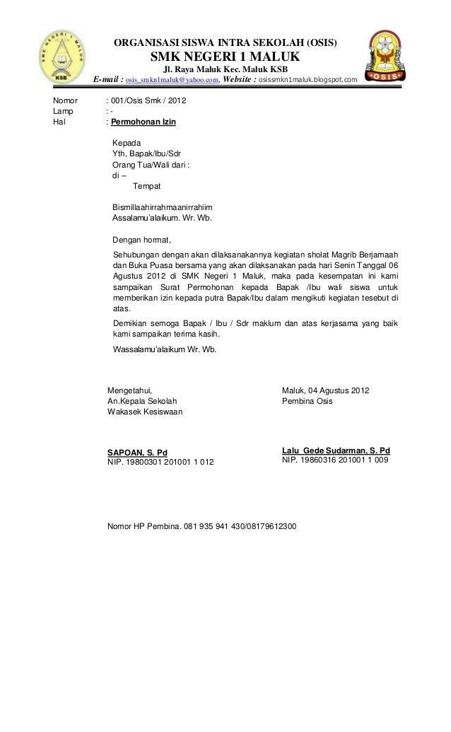 Contoh Surat Pengajuan Osis