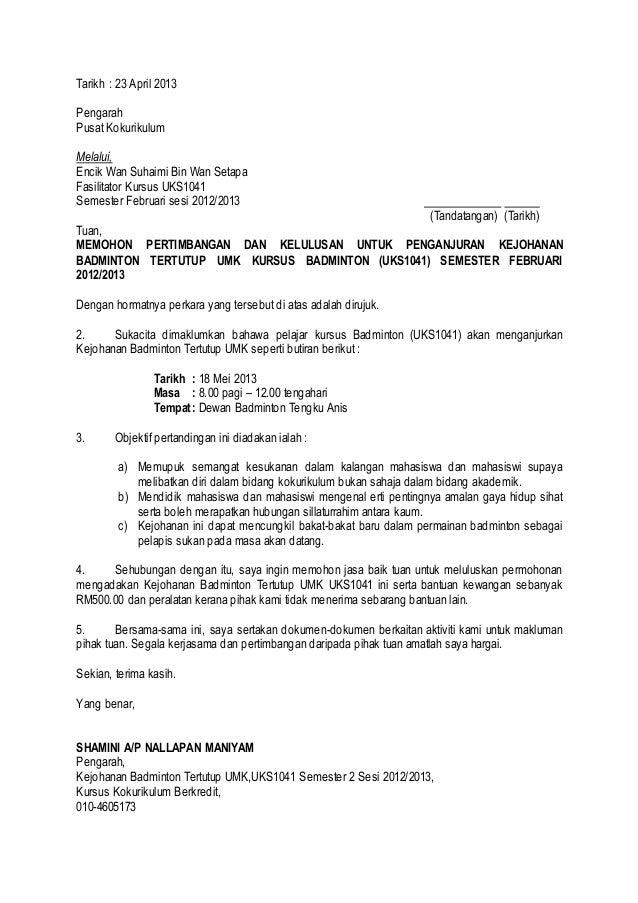 Surat Iringan Badminton
