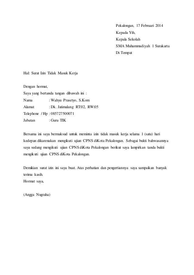 Contoh Surat Izin Sakit Guru Kepada Kepala Sekolah ...