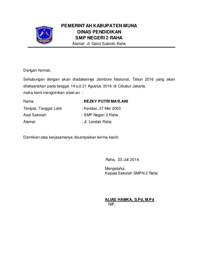 Surat Izin Kepala Sekolah