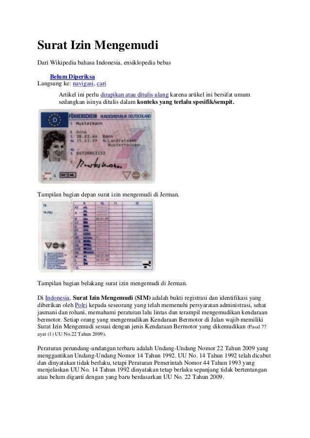 Surat Izin MengemudiDari Wikipedia bahasa Indonesia, ensiklopedia bebas    Belum DiperiksaLangsung ke: navigasi, cari     ...