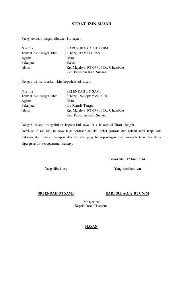 Contoh Surat Izin Suami Untuk Visa Dalam Bahasa Inggris ...