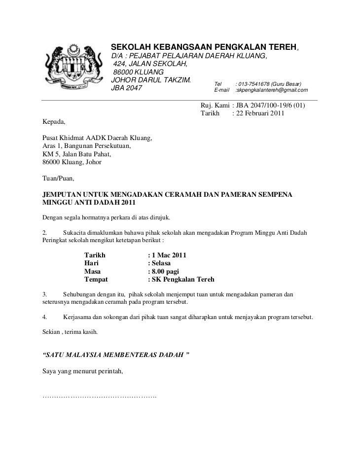 Contoh Surat Rasmi Permohonan Mengadakan Program Arasmi