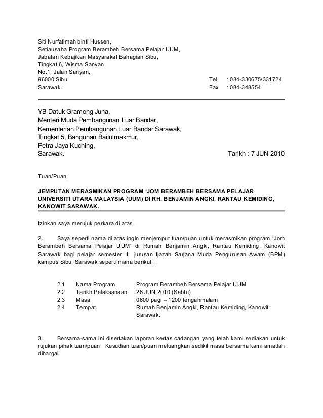 Contoh surat jemputan rasmi contoh surat jemputan yb