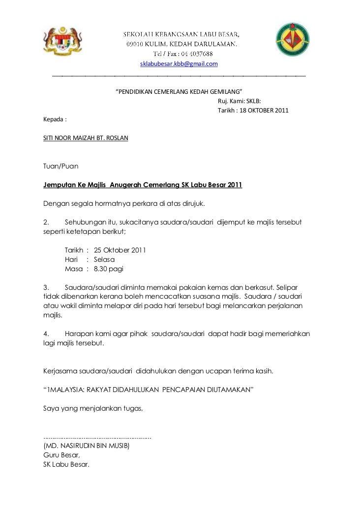 Contoh Surat Rasmi Jemputan Yb Contoh Qq