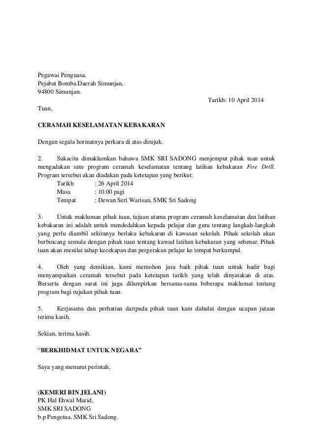 surat jemputan ceramah keselamatan kepada bomba
