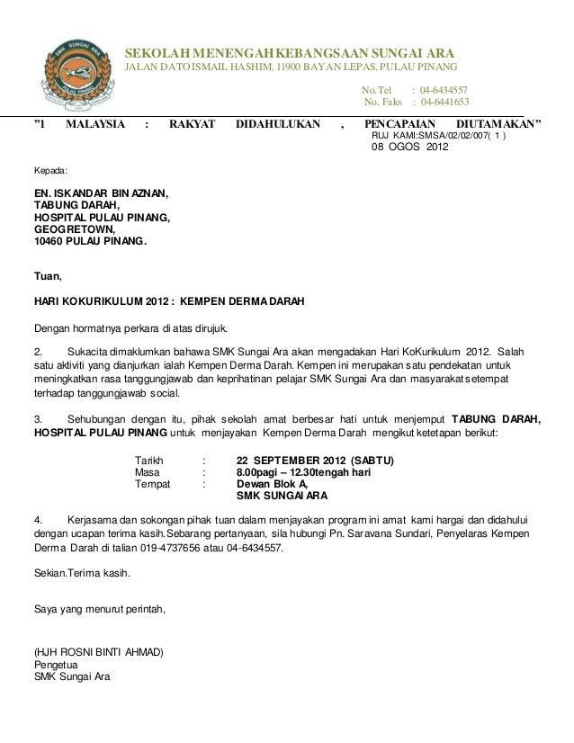 Contoh Surat Rasmi Permohonan Mengadakan Program Resepi Book F