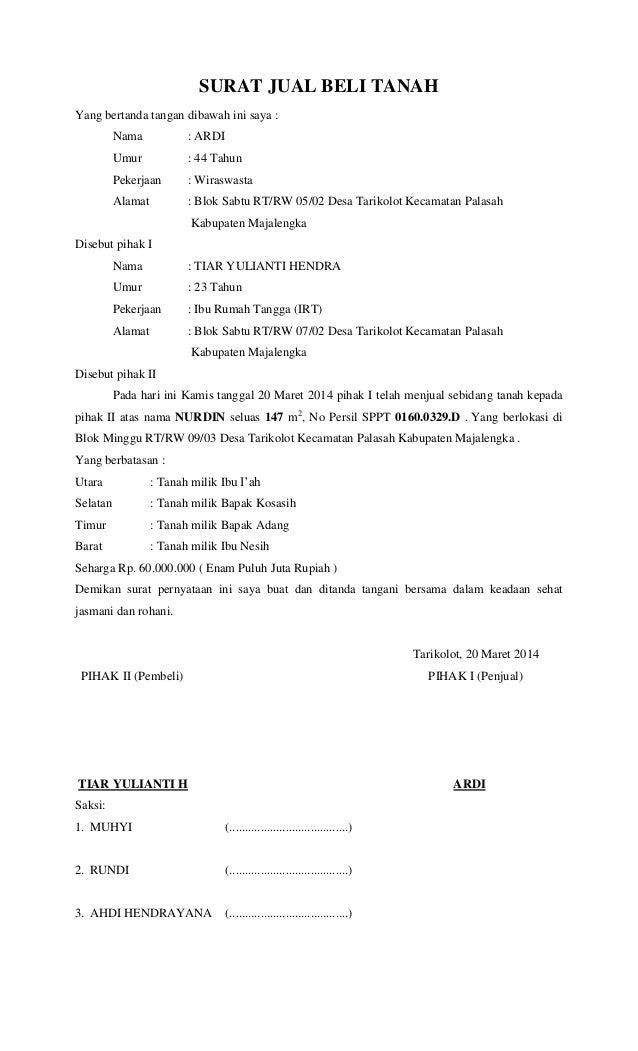 Contoh Surat Pembatalan Akta Jual Beli
