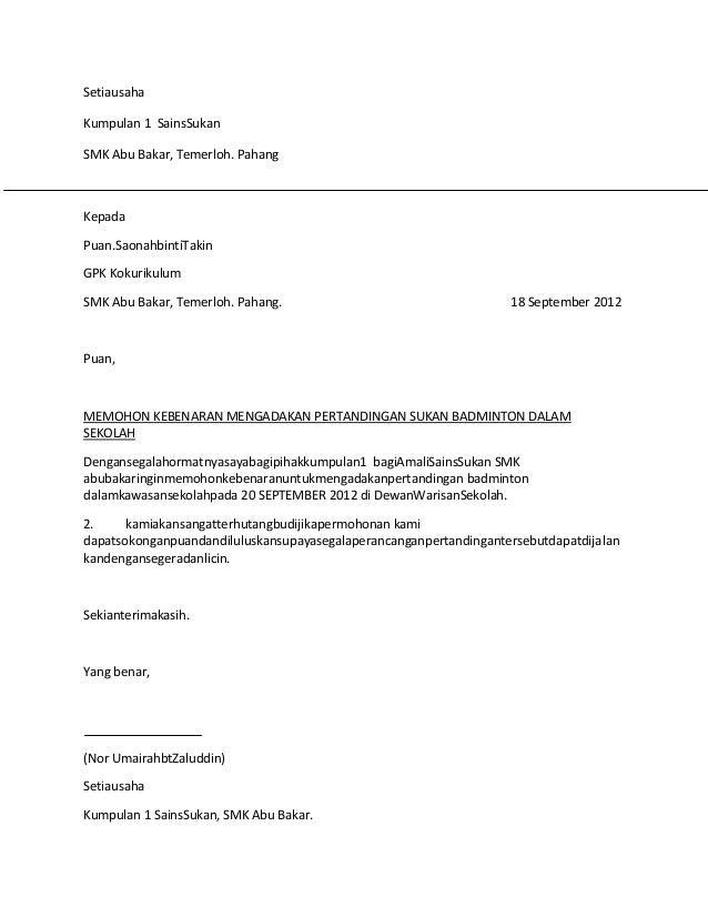 Contoh Surat Rasmi Untuk Memohon Cuti Kerja Rasmi Suh