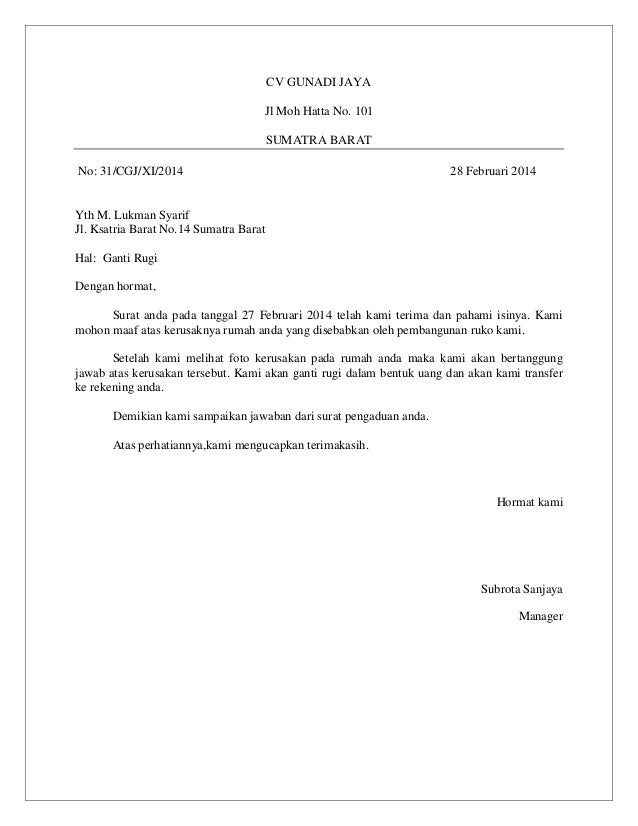 contoh surat rasmi ganti rugi contoh duri