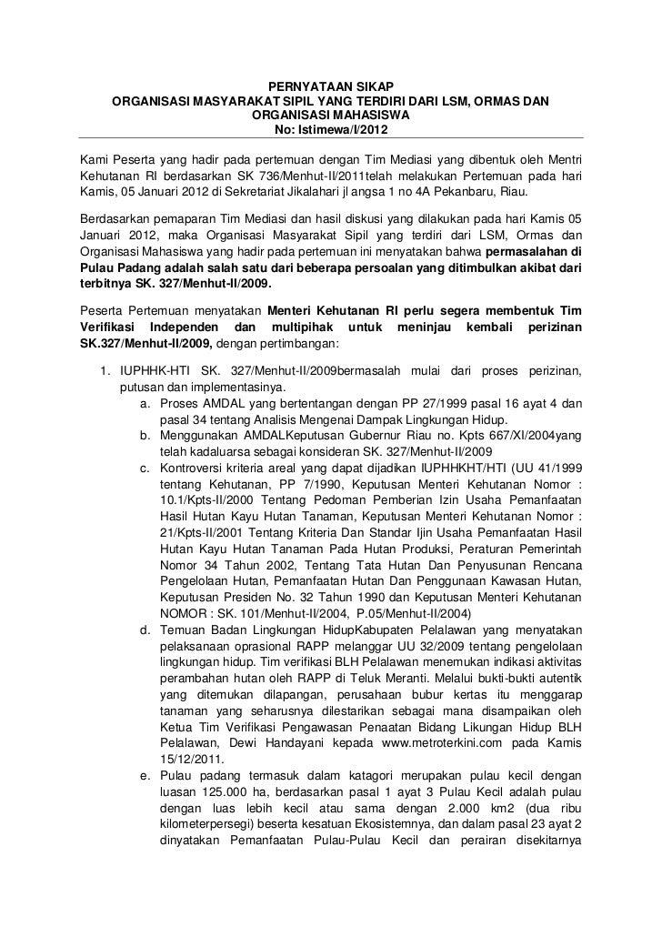 PERNYATAAN SIKAP     ORGANISASI MASYARAKAT SIPIL YANG TERDIRI DARI LSM, ORMAS DAN                       ORGANISASI MAHASIS...
